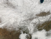 Indiana Photography Posters - Satellite View Of A Severe Winter Storm Poster by Stocktrek Images
