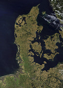 Baltic Prints - Satellite View Of Denmark Print by Stocktrek Images