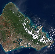Cartography Photos - Satellite View Of Honolulu, Oahu by Stocktrek Images