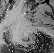 Superstorm Sandy Posters - Satellite View Of Hurricane Sandy Poster by Stocktrek Images