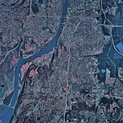 Arkansas Art - Satellite View Of Little Rock, Arkansas by Stocktrek Images