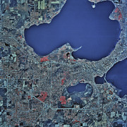 Metropolis Prints - Satellite View Of Madison, Wisconsin Print by Stocktrek Images