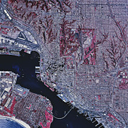 Metropolis Prints - Satellite View Of San Diego, California Print by Stocktrek Images
