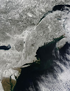 Snow. Ocean Posters - Satellite View Of Snow Poster by Stocktrek Images