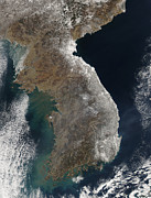 Winter Storm Photos - Satellite View Of Snowfall Along South by Stocktrek Images