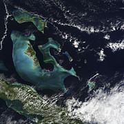 Satellite View Of The Bahama Islands Print by Stocktrek Images