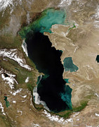 Armenia Prints - Satellite View Of The Caspian Sea Print by Stocktrek Images