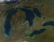 Physical Body Art - Satellite View Of The Great Lakes, Usa by Stocktrek Images