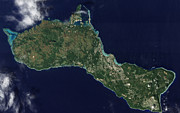 Satellite View Posters - Satellite View Of The Island Of Guam Poster by Stocktrek Images