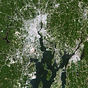 Cartography Photos - Satellite View Of The Pawtucket by Stocktrek Images