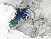 Sea View Art - Satellite View Of The Ross Sea by Stocktrek Images