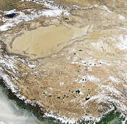 Tibet Prints - Satellite View Of The Tibetan Plateau Print by Stocktrek Images