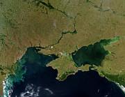 Satellite View Of The Ukraine Coast Print by Stocktrek Images