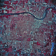 Metropolis Prints - Satellite View Of Topeka, Kansas Print by Stocktrek Images