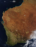 Continents Prints - Satellite View Of Western Australia Print by Stocktrek Images