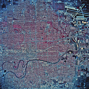 Satellite View Of Wichita, Kansas Print by Stocktrek Images