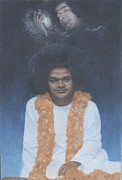 Baba Portrait Paintings - Sathya Sai Baba Divine II by Anne Provost
