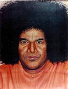 Baba Paintings - Sathya Sai Baba- Full Face by Anne Provost