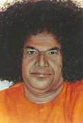 Baba Portrait Paintings - Sathya Sai Baba- Sarada Sai by Anne Provost