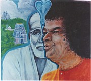 Baba Portrait Paintings - Sathya Sai Baba- Shirdi Sai Baba by Anne Provost