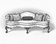 Pen And Ink Drawing Prints - Satin Chippendale English Sofa Print by Adam Zebediah Joseph