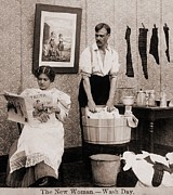 Washing Clothes Posters - Satire Of Feminism And Womens Rights Poster by Everett