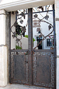 Grape Leaves Photos - Satorini Island Greece Gate by Eva Kaufman