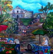 San Antonio Paintings - Saturday at Alamo Plaza by Patti Schermerhorn