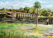 Florida Bridge Pastels - Saturday At The St. Johns River by Larry Whitler