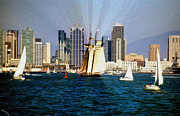 Saturday In San Diego Bay Print by Cheryl Young