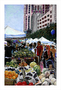 Downtown Pastels Posters - Saturday Morning Market Poster by Barry Rothstein