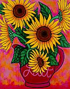 Lisa Lorenz Painting Metal Prints - Saturday Morning Sunflowers Metal Print by Lisa  Lorenz