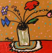 Primitive Drawings - Saturday Small Bouquet  by Mary Carol Williams