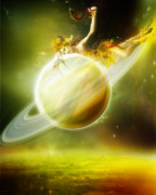 Science Fiction Prints - Saturn Print by Karen Koski
