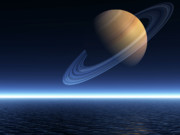 Rendered Prints - Saturn Rising over Ocean - Landscape Mode Print by Nicholas Burningham