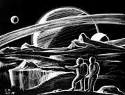 Planets Drawings - Saturn Visitors by Daniel Gouws