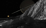 Incline Digital Art - Saturns Moon, Dione, Has Huge Cliffs by Ron Miller