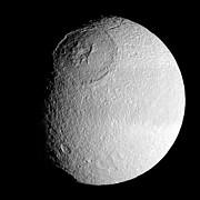 Impact Art - Saturns Moon Tethys by Stocktrek Images