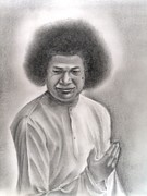 Shading Drawings - Satya Sai Baba by Vijaykrishna Ravichandran