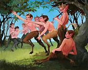 Faun Paintings - Satyrs Afternoon by Patrick Hiatt