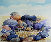 Nature Painting Posters - Sauble Pebbles Poster by Merv Scoble