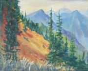 North Cascades Painting Posters - Sauk Mountain Slope Poster by Sukey Jacobsen