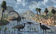 Hadrosaurid Posters - Sauropod And Duckbill Dinosaurs Feed Poster by Mark Stevenson