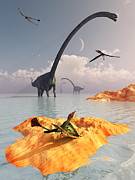 Paleozoology Art - Sauropod Omeisaurs And Flying by Mark Stevenson