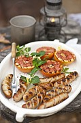 Grapefruit Photo Prints - Sausage With Grilled Grapefruit Print by Lew Robertson/Fuse