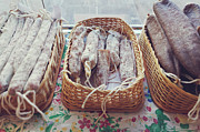 Basket Prints - Sausages At Market Stand Print by Jekaterina Nikitina