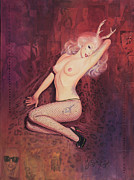Swarovski Crystals Painting Originals - Savage Gaga a la Marilyn by Stapler-Kozek