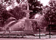 Forsyth Park Photos - Savannah Fountain in Pink by Carol Groenen