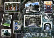 Landmarks Framed Prints - Savannah Scenes Collage Framed Print by Carol Groenen