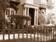 Savannah Architecture Framed Prints - Savannah Sepia - Mercer House Framed Print by Carol Groenen